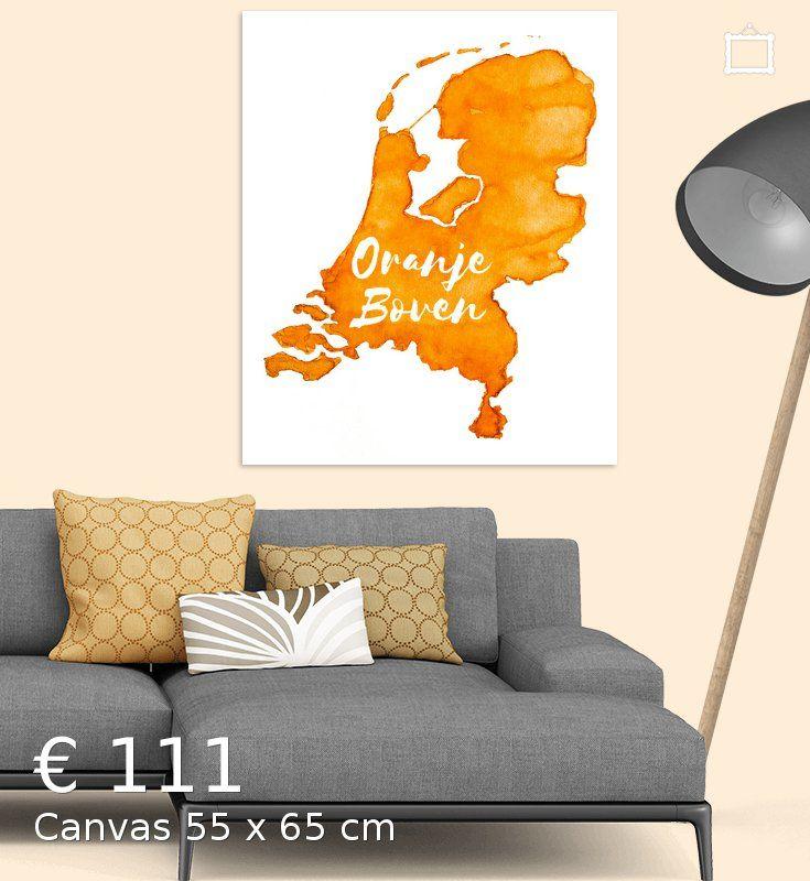 Oranje Boven - Landkaart van Nederland in Aquarel