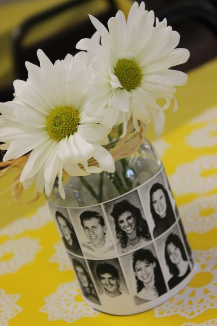 Great class reunion centerpiece #reunion #highschool #party. Could use for a kids part with photos over time.