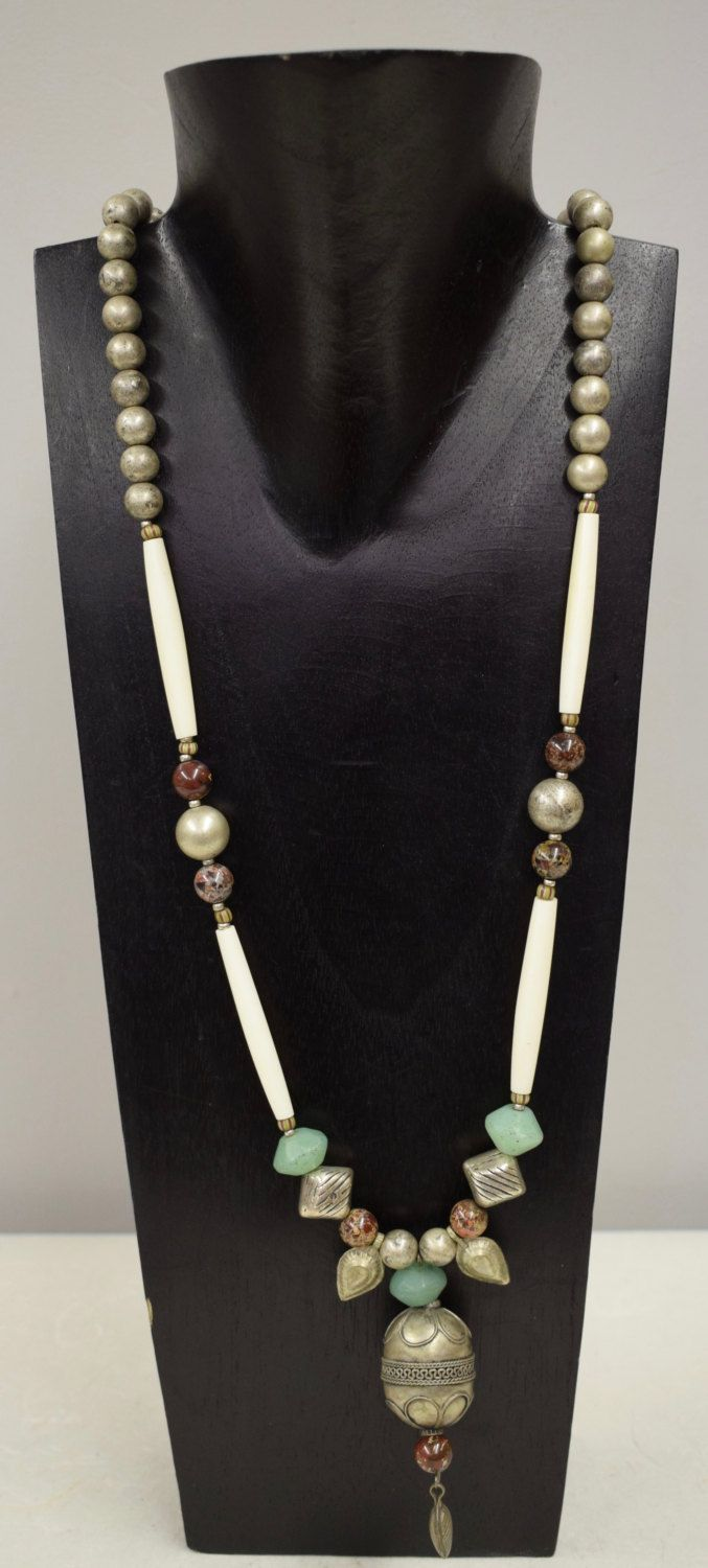 Necklace Vintage Silver Middle East Bead Charms African