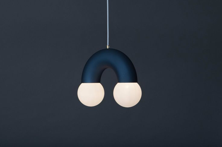 The pendant lamp in steel blue colour from the Lighting Collection #1.