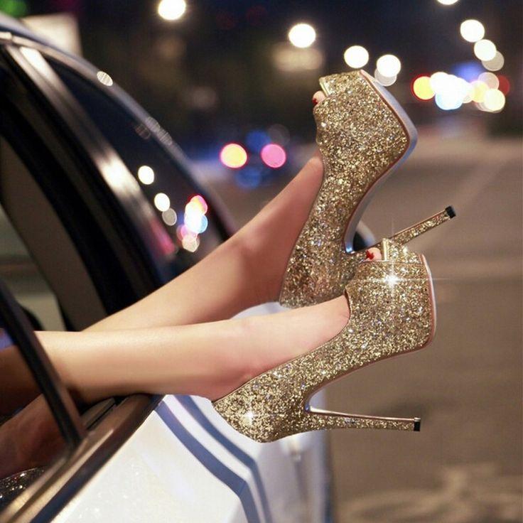 Купить Сексуальная блеск блестящий 16 см высокий каблук пип ноги золото белый или черный женская обувь для выпускного вечера ну вечеринку мода туфли на высоком каблуке бесплатная доставкаи другие товары категории Туфлив магазине Amazing Dress Factory наAliExpress. обувь children и серебро насосы обувь