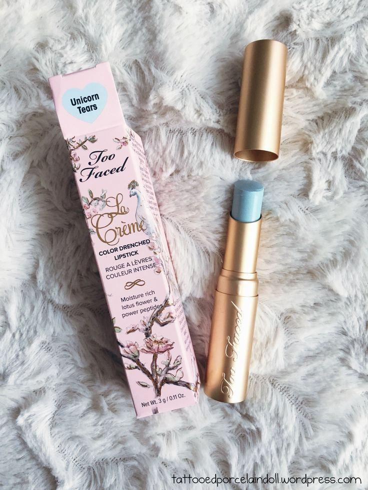 Too Faced La Crème Unicorn Tears is literally the coolest lipstick I have ever owned, I purchased it for $22 at Ulta. It has an iridescent shimmer and glides on smoothly and is very creamy. The onl…