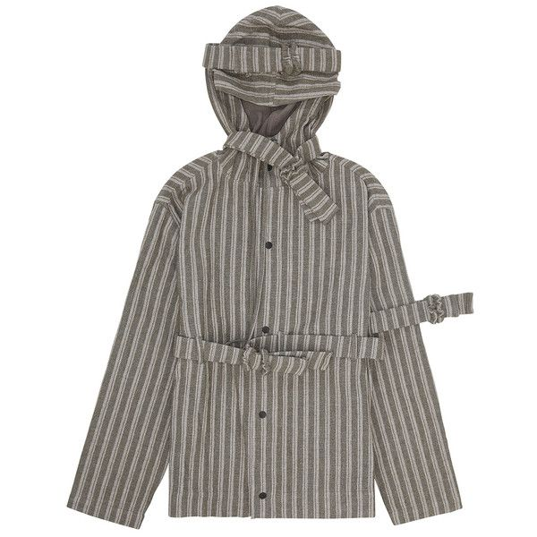 CRAIG GREEN TRIPE HOODED JACKET STRIPE ($346) ❤ liked on Polyvore featuring craig green