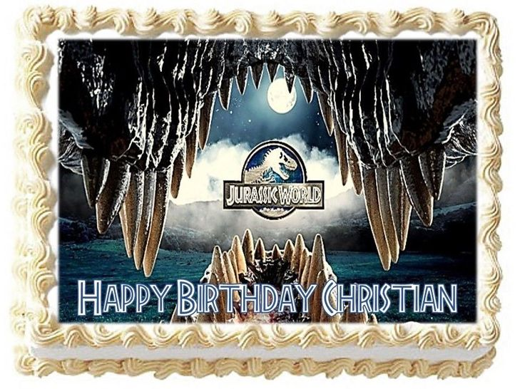 Jurassic Park Personalized Happy Birthday Edible Cake Image Topper