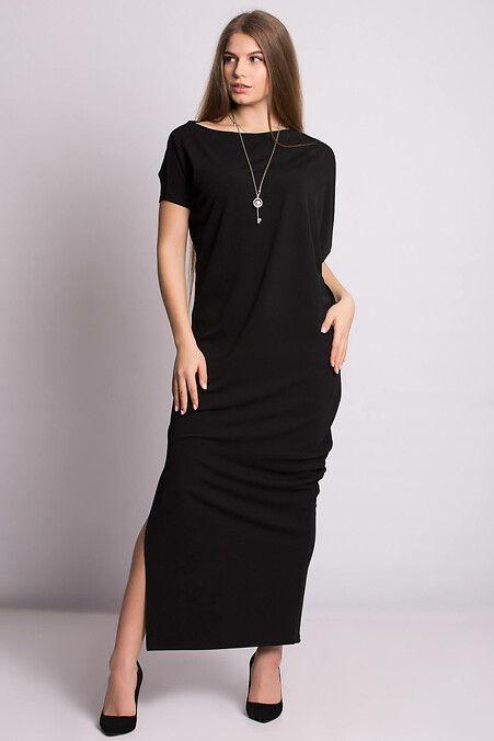 57d01284789 Вечернее длинное платье BONI в черном цвете с асимметрией и боковым ...