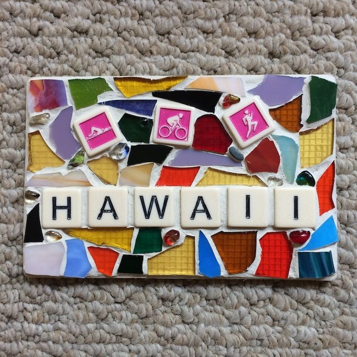 Triathlon Hawaii Stained Glass Mosaic Made in Hawaii Deesigns by Harris Free Gift Wrap by DeesignsByHarris on Etsy