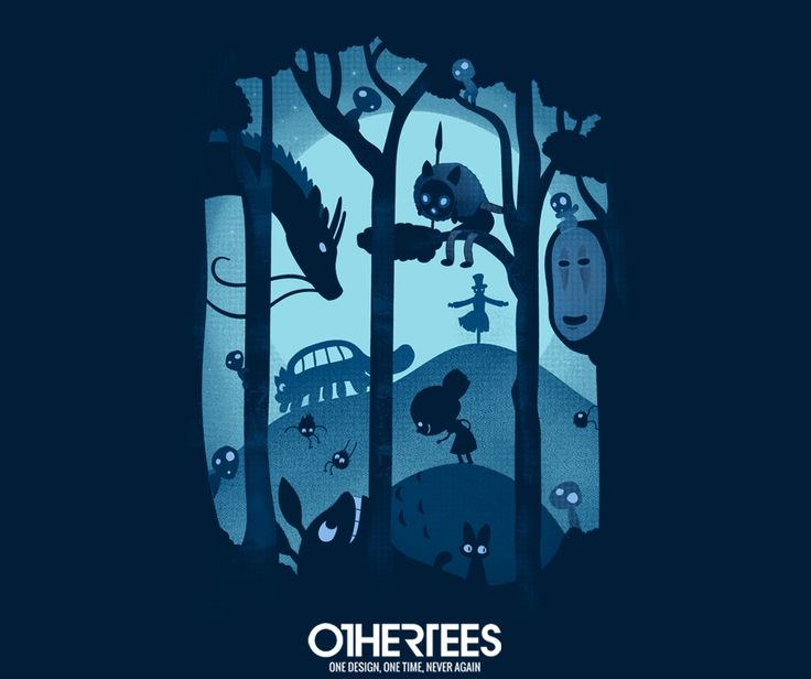 """Magical Gathering"" by Queenmob shirts, Tank Tops, V-necks, Sweatshirts and Hoodies are on sale until May 16th at www.OtherTees.com #ghibli #studioghibli #miyazaki #hayaomiyazaki #kodamas #catbus #totoro #anime #tshirts #othertees #noface #clothes"