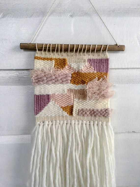 Woven wall hanging small pink white and mustard wall decor