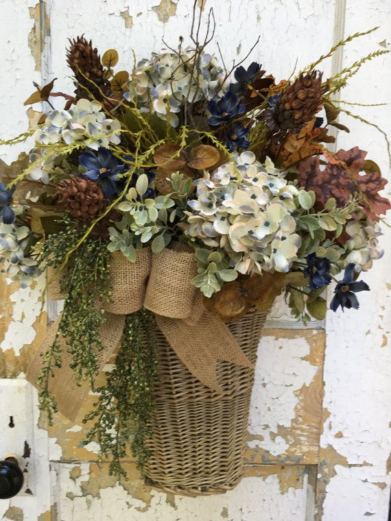Fall Basket Fall Wreath Autumn Blue Hydrangea by FlowerPowerOhio