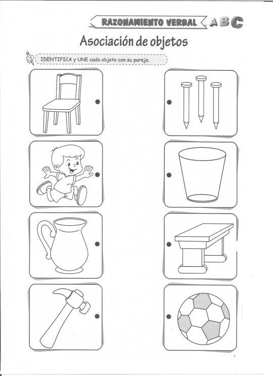 Ficha imprimible de razonamiento verbal. Tema: Asociación de objetos Actividad a realizar: Identifica y une cada objeto con su pareja.