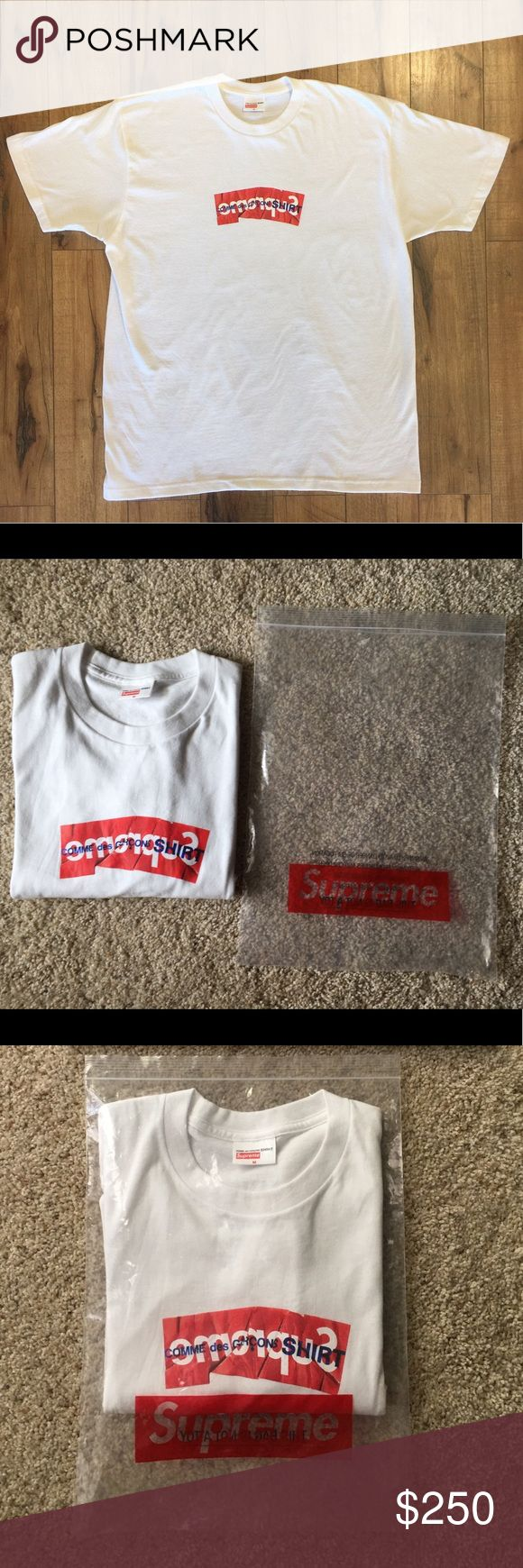 """Supreme """"Comme Des Garçons"""" Limited Edition Shirt Only worn once, still in excellent condition! Comes with original bag, I bought this (at By George in Austin, Tx) for $200, but I'm pricing it at $250 since its limited edition. Size medium, 100% authentic. Comme des Garcons Shirts Tees - Short Sleeve"""