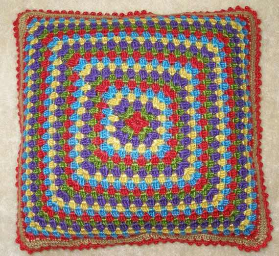 Vintage Crochet Multicolour Pillows by VintageHomeStories on Etsy,