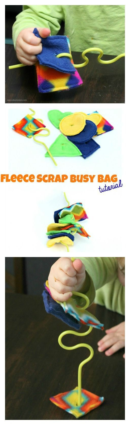 Fleece Scrap Busy Bag Tutorial - a quick, easy way to use up fleece scraps and keep your little one entertained. Links to other busy bag tutorials throughout the week!