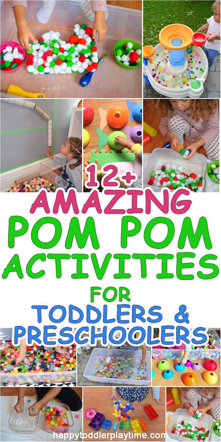 POM POMS!! There is no better tool for activities with toddlers or preschoolers than Pom Poms! Check out this amazing list of new and fun ways to learn and play with POM POMS!