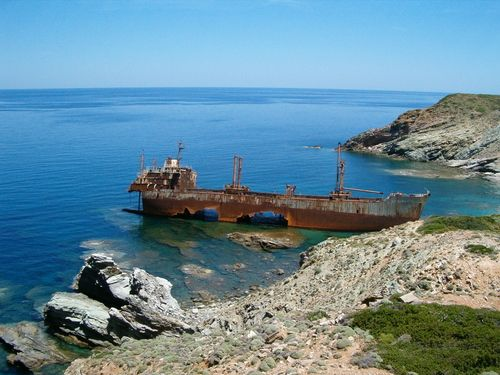 The beach of Vori with the shipwreck