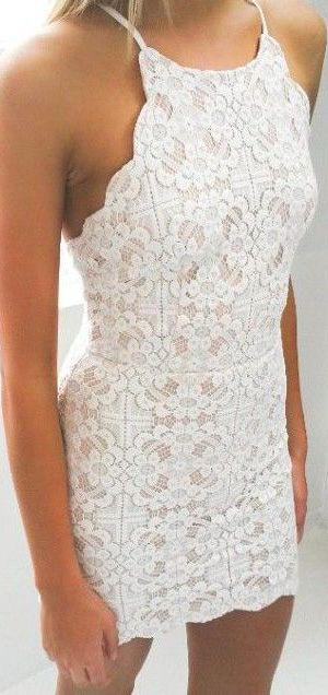 White Halter Croquet Mini Dress