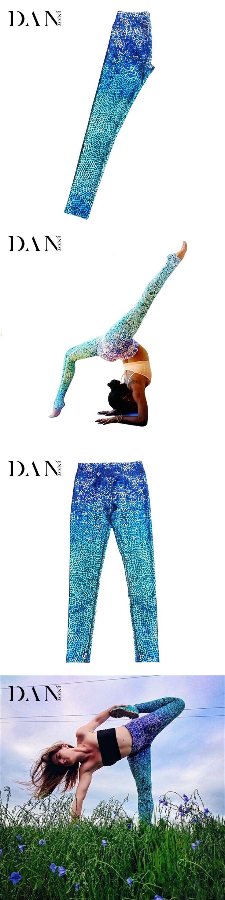 DANENJOY Womens Blue Mermaid Gradient Color 3D Print Tight Pants Breathable Leggings Slim Pants Stretch Trouser Skinny Leggings