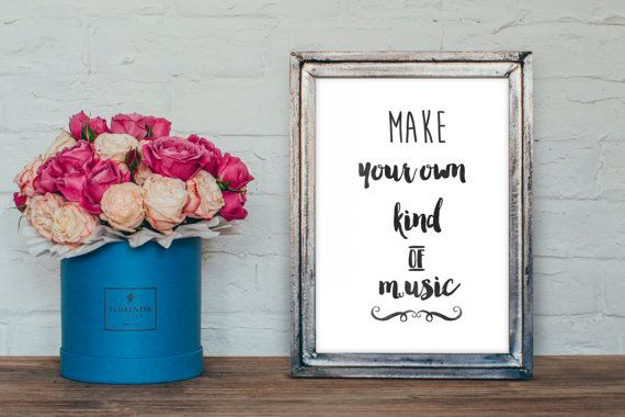 Make your own kind of music print DIY, watercolor typography, diy printable wall art
