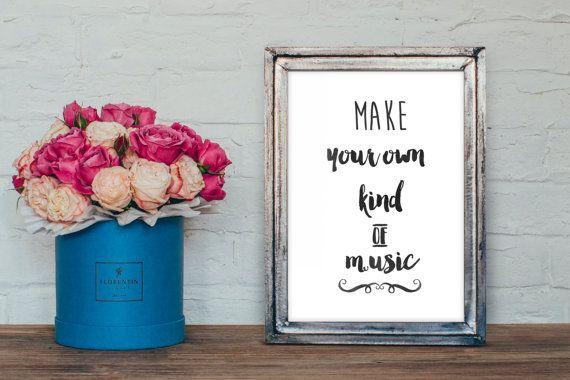 Make your own kind of music print DIY, watercolor typography, diy printable wall art