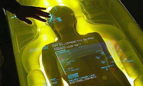 Categoria: 2 / Tags: movie, interface, futuristic / Descrição: Interface de uma incubadora humana mostrada no filme Prometheus.