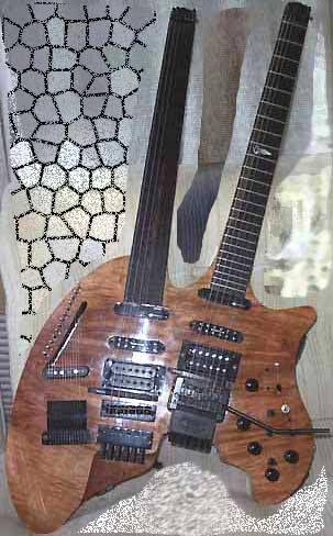 "Double neck guitar called ""Yggdrasil"". An impressive guitar built by Swedish luthier Fredrik Nevborn"