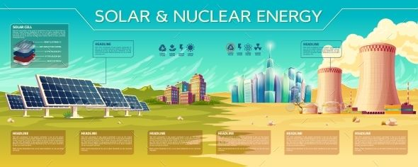 Vector Solar Nuclear Energy Industry Infographic