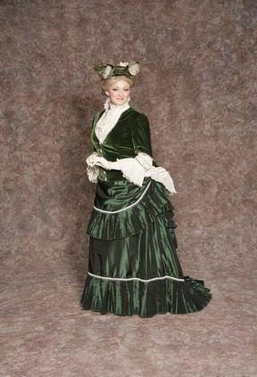 $45.00 Costume Rental  Donna Lucia Green  green velvet bodice, green pleated skirt