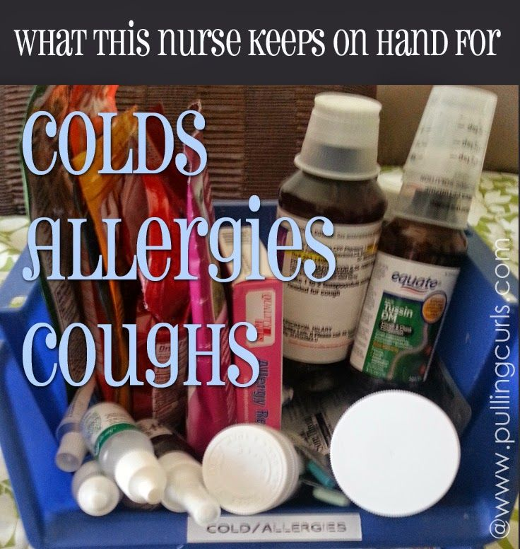 A list of the over the counter cold medicines I keep on hand for when my family is sick.