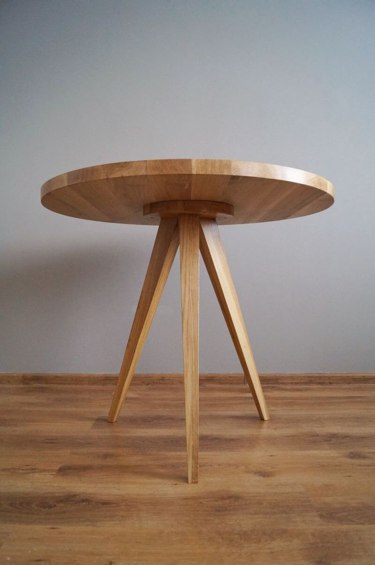Dunklem holz mit interessanten rundungen gt stehlampe wohnzimmer modern - Round Dining Table Kitchen Table Made Of Solid Oak Wood 90 Cm