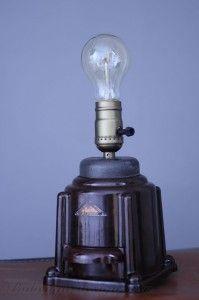 Stolní lampa mlýnek vintage + žárovka Edison