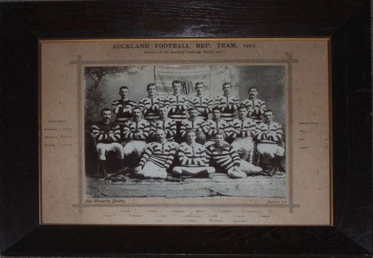 Auckland Football Team 1902. This is the first ever Ranfurly Shield side, the Shield presented to Auckland after an unbeaten season in which they defeated Canterbury Wellington & Taranaki. The photo is mounted on a printed card surround bearing players names and the record for the season.