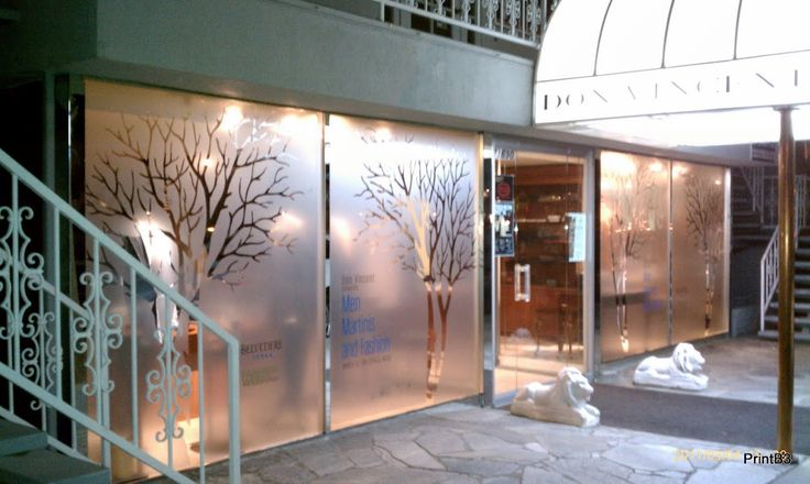 Dusted-Frosted Etched Glass Retail Window Graphics by PrintB3 The effect of this window graphic simulates etched glass.