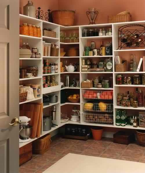 Pantry with simple shelving.