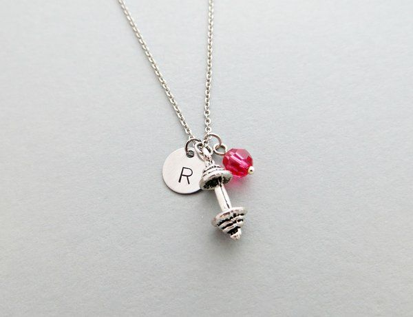 $13.95 // Barbell Charm Personalized Hand Stamped Silver Initial Necklace with Swarovski // You are looking at a personalized hand stamped initial necklace. Necklace is adorned with a barbell charm, a swarovski bead color of your choice, and comes on a silver plated chain in the length of your choice. #indieetc #indie #etc #gym #weightlifting #workout