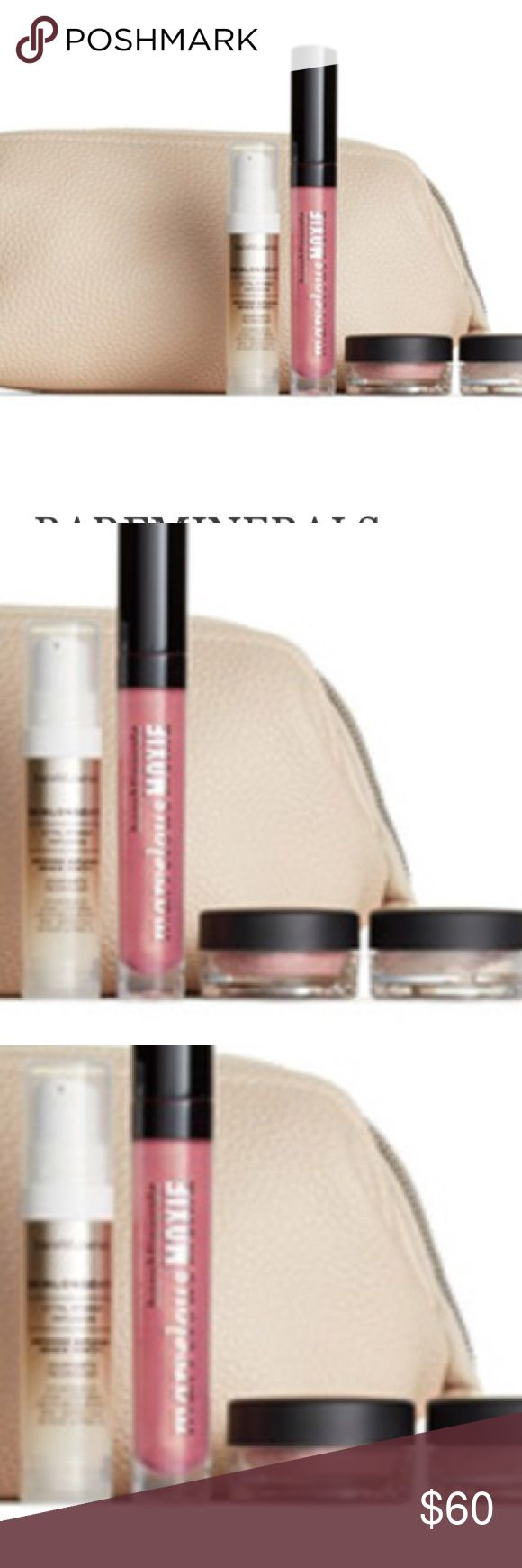 Bare minerals beauty bundle A NWT travel  cosmetics bag and deluxe samples of SkinLongevity Vital Power Infusion (0.25 oz.), Marvelous Moxie™ Lip Gloss in Smooth Talker (0.15 oz.), Blush in Hint (0.02 oz.) and Illuminating Mineral Veil Finishing Powder (0.03 oz. bareMinerals Makeup