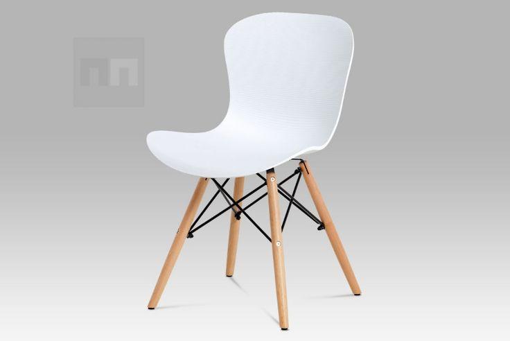 Plastová jídelní židle, bílá AUGUSTA WT