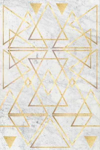 wire gold triangle art print by Simona Sacchi