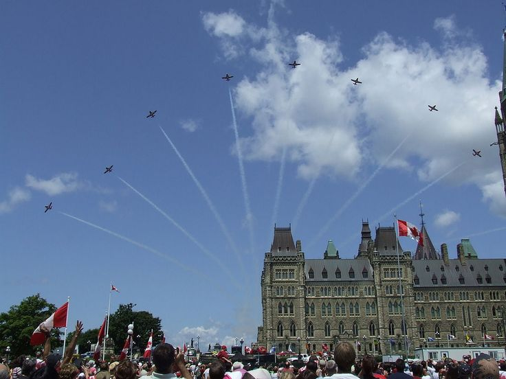 Canada Day 2008 Snowbirds over Parliament-Canada Day (French: Fête du Canada) is the national day of Canada, a federal statutory holiday celebrating the anniversary of the July 1, 1867, enactment of the British North America Act, 1867 (today called the Constitution Act, 1867), which united three colonies into a single country called Canada within the British Empire.