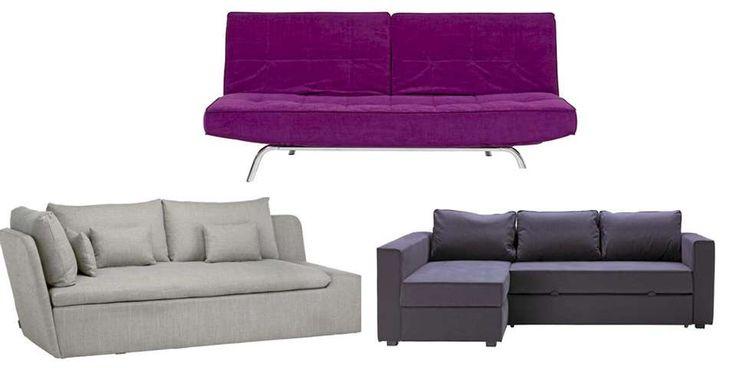 MANGE FORMER: Øverst: Smile sovesofa, kr 3995, Skeidar. Kan også fås i grått. Nederst til venstre: Moray daybed fra Habitat, kr 9450, R.O.O.M. Nederst til høyre: Månstad sofa, sjeselong og dobbeltseng i ett. Har plass til sengetøy under setet, kr 4950, Ikea.