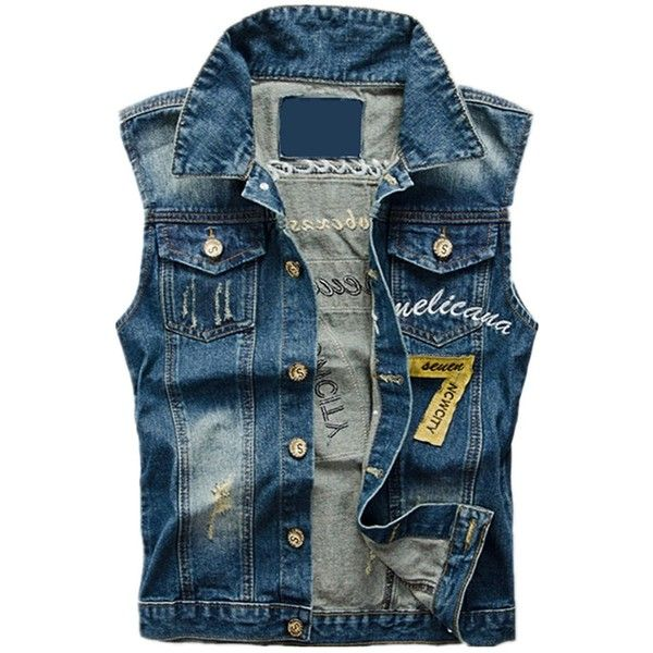 Allonly Men's Fashion Hip Hop Printed Denim Vest Sleeveless Punk... ($30) ❤ liked on Polyvore featuring men's fashion, men's clothing, men's outerwear, men's vests, mens jean jackets, mens vest outerwear, mens jean jacket vest and mens sleeveless vest