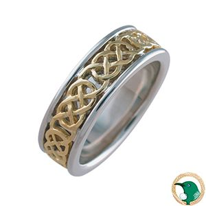 Love Ladies Celtic ring.  Style pictured, traditional Celtic knots in 18ct yellow gold, adorn this solid 18ct white gold Celtic ring. 6.4mm width.