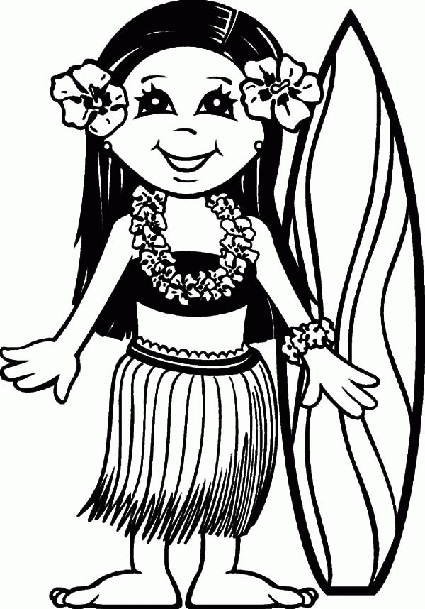 Surfer Girl Hawaii Coloring Pages
