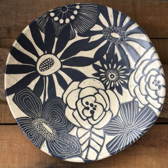 round floral platter by MODHomeceramics on Etsy