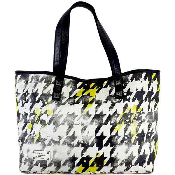 Pre-owned L.A.M.B. Black White & Yellow Houndstooth Tote Bag (170 CAD) ❤ liked on Polyvore featuring bags, handbags, tote bags, yellow handbag, l a m b handbags, l a m b tote, studded tote and black and white handbags