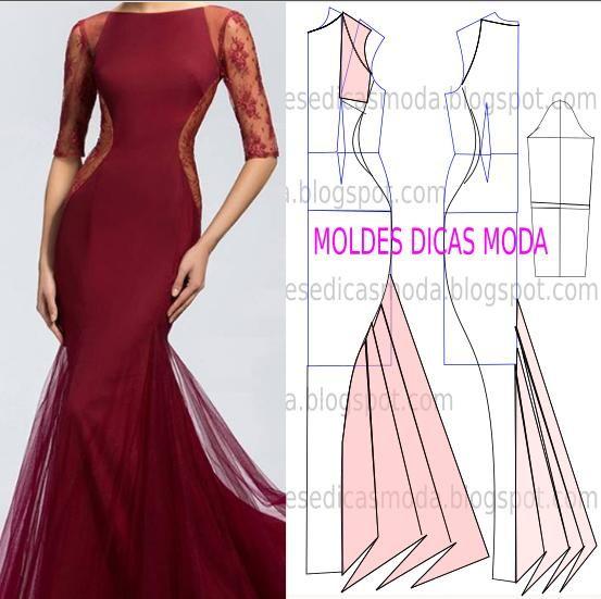 molde de vestido de festa