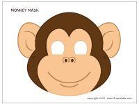Make a monkey mask free printable is the perfect icebreaker project to keep kids who arrive at the Monkey Party busy.