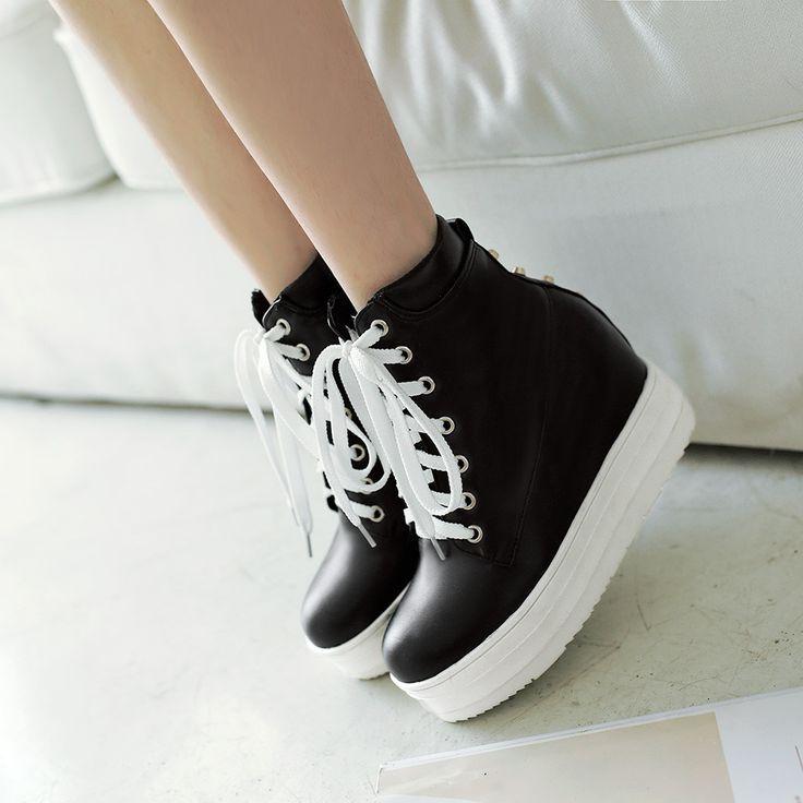 Lace Up Wedges Stiefel High Heels Damen Schuhe Herbst | Winter 9988 – #damen #he…
