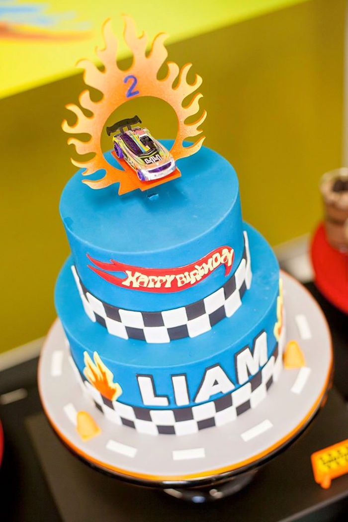 Cake from a Hot Wheels + Car Birthday Party via Kara's Party Ideas | KarasPartyIdeas.com (18)