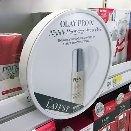 Obviously this Olay Pro-X® circular sign holder for shelf edge is a sister to the nearby CeraVe®. While the circular shape draws a crowd, the product advertised within competes only quietly. Compar…