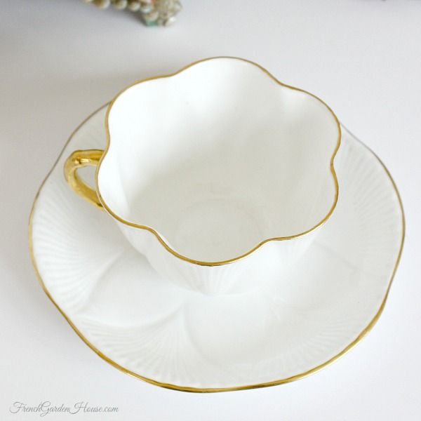 Vintage Shelley Bone China Dainty White Gilt Tea Cup